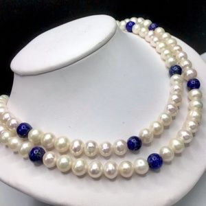 🌺Vintage Jay King Pearl & Lapis Necklace
